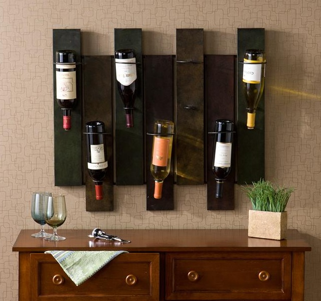 Nora 7 bottle wall mount wine rack lifestyle fancy - Muebles de bar ...